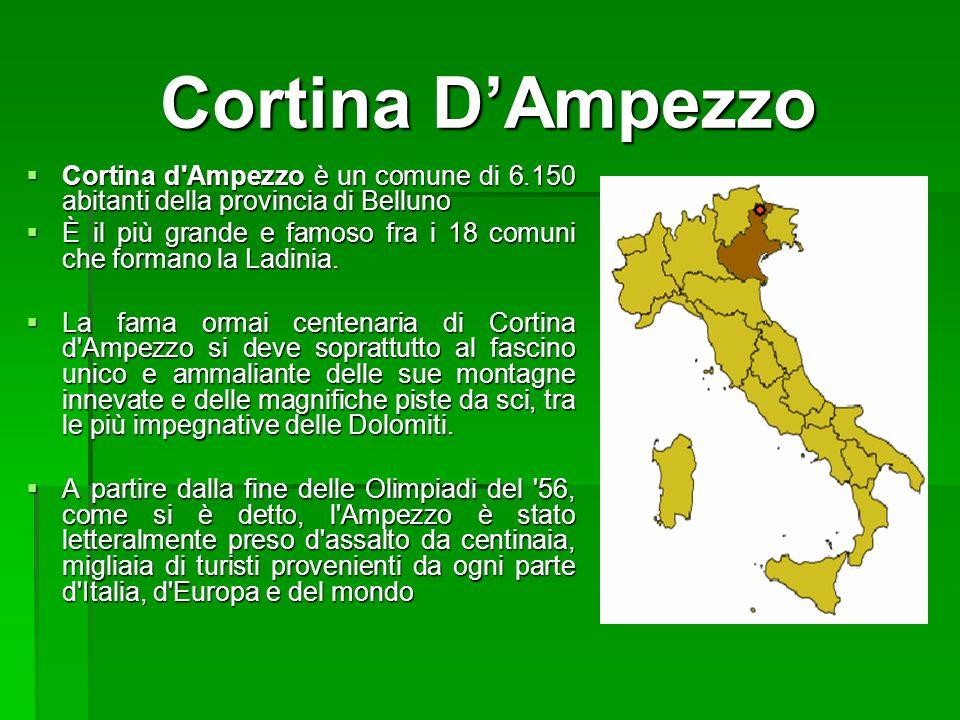 Cortina DAmpezzo Cortina d Ampezzo è un comune di 6.150 abitanti della provincia di Belluno Cortina d Ampezzo è un comune di 6.150 abitanti della provincia di Belluno È il più grande e famoso fra i 18 comuni che formano la Ladinia.