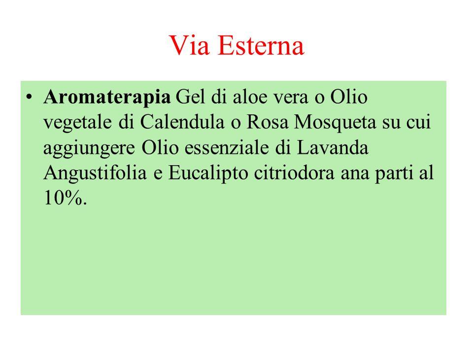 Via Esterna Aromaterapia Gel di aloe vera o Olio vegetale di Calendula o Rosa Mosqueta su cui aggiungere Olio essenziale di Lavanda Angustifolia e Euc