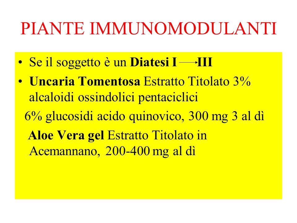 PIANTE IMMUNOMODULANTI Se il soggetto è un Diatesi I III Uncaria Tomentosa Estratto Titolato 3% alcaloidi ossindolici pentaciclici 6% glucosidi acido