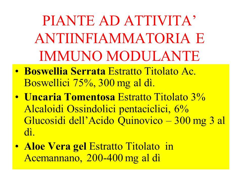 PIANTE AD ATTIVITA ANTIINFIAMMATORIA E IMMUNO MODULANTE Boswellia Serrata Estratto Titolato Ac. Boswellici 75%, 300 mg al dì. Uncaria Tomentosa Estrat