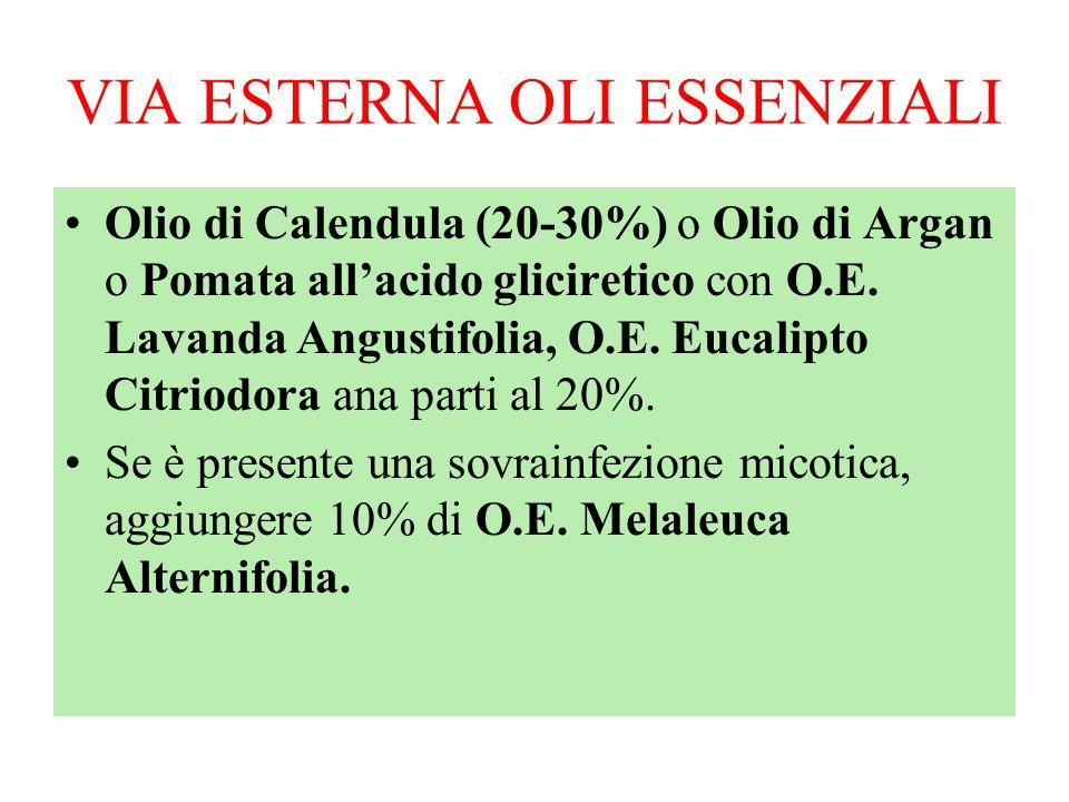 VIA ESTERNA OLI ESSENZIALI Olio di Calendula (20-30%) o Olio di Argan o Pomata allacido gliciretico con O.E. Lavanda Angustifolia, O.E. Eucalipto Citr
