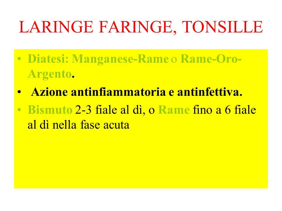 LARINGE FARINGE, TONSILLE Diatesi: Manganese-Rame o Rame-Oro- Argento. Azione antinfiammatoria e antinfettiva. Bismuto 2-3 fiale al dì, o Rame fino a
