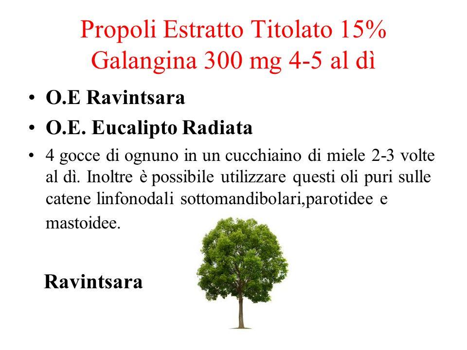 Propoli Estratto Titolato 15% Galangina 300 mg 4-5 al dì O.E Ravintsara O.E. Eucalipto Radiata 4 gocce di ognuno in un cucchiaino di miele 2-3 volte a