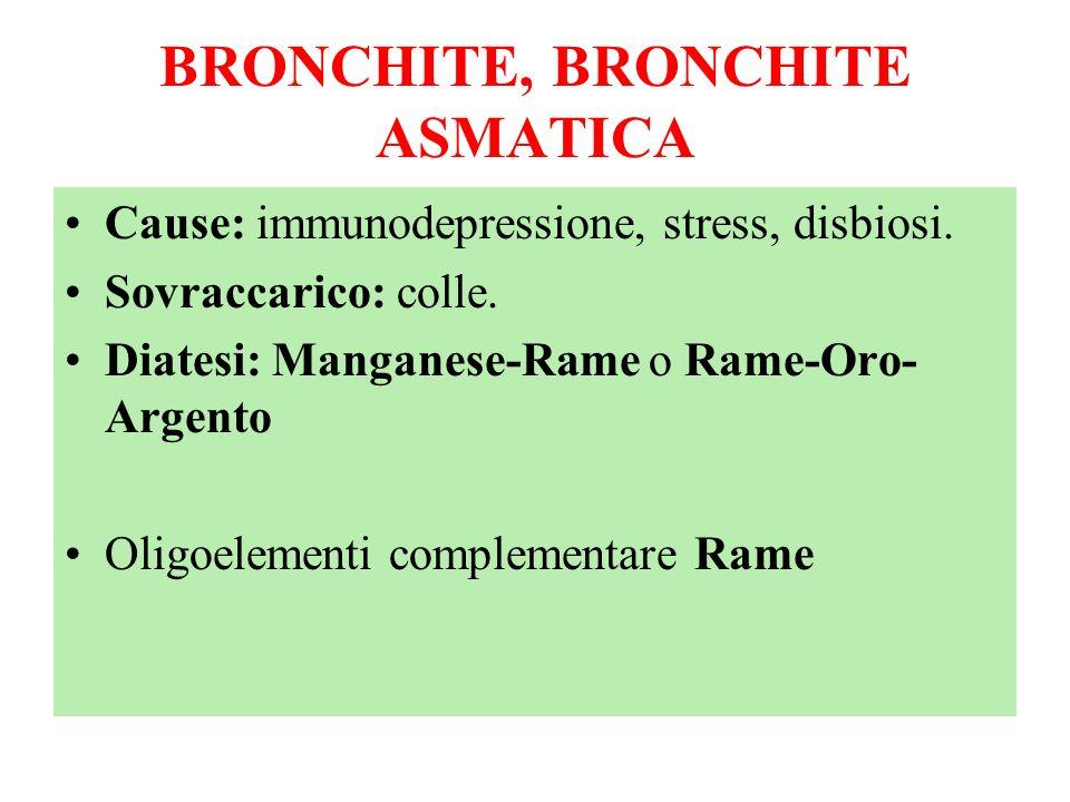 BRONCHITE, BRONCHITE ASMATICA Cause: immunodepressione, stress, disbiosi. Sovraccarico: colle. Diatesi: Manganese-Rame o Rame-Oro- Argento Oligoelemen