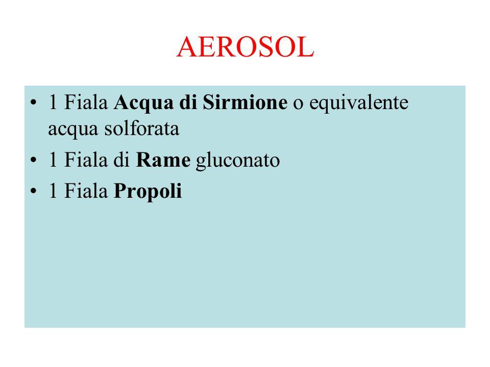 AEROSOL 1 Fiala Acqua di Sirmione o equivalente acqua solforata 1 Fiala di Rame gluconato 1 Fiala Propoli