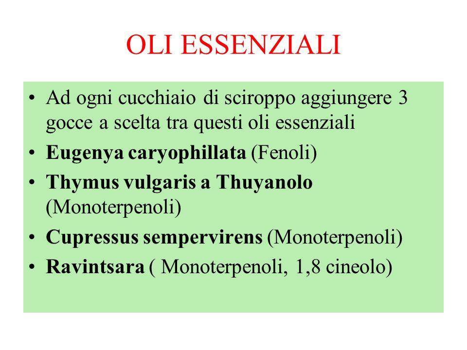 OLI ESSENZIALI Ad ogni cucchiaio di sciroppo aggiungere 3 gocce a scelta tra questi oli essenziali Eugenya caryophillata (Fenoli) Thymus vulgaris a Th