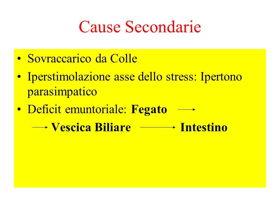 Cause Secondarie Sovraccarico da Colle Iperstimolazione asse dello stress: Ipertono parasimpatico Deficit emuntoriale: Fegato Vescica Biliare Intestin