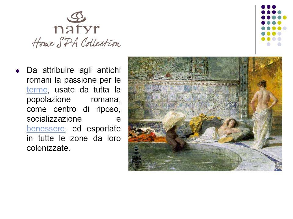 Da attribuire agli antichi romani la passione per le terme, usate da tutta la popolazione romana, come centro di riposo, socializzazione e benessere, ed esportate in tutte le zone da loro colonizzate.
