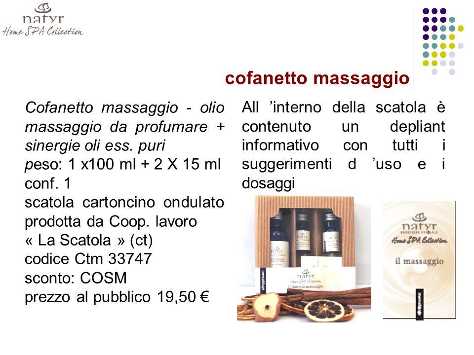 Cofanetto massaggio - olio massaggio da profumare + sinergie oli ess.