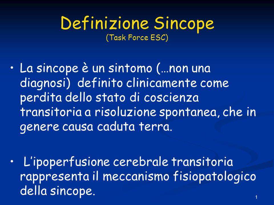 1 Definizione Sincope (Task Force ESC) La sincope è un sintomo (…non una diagnosi) definito clinicamente come perdita dello stato di coscienza transit