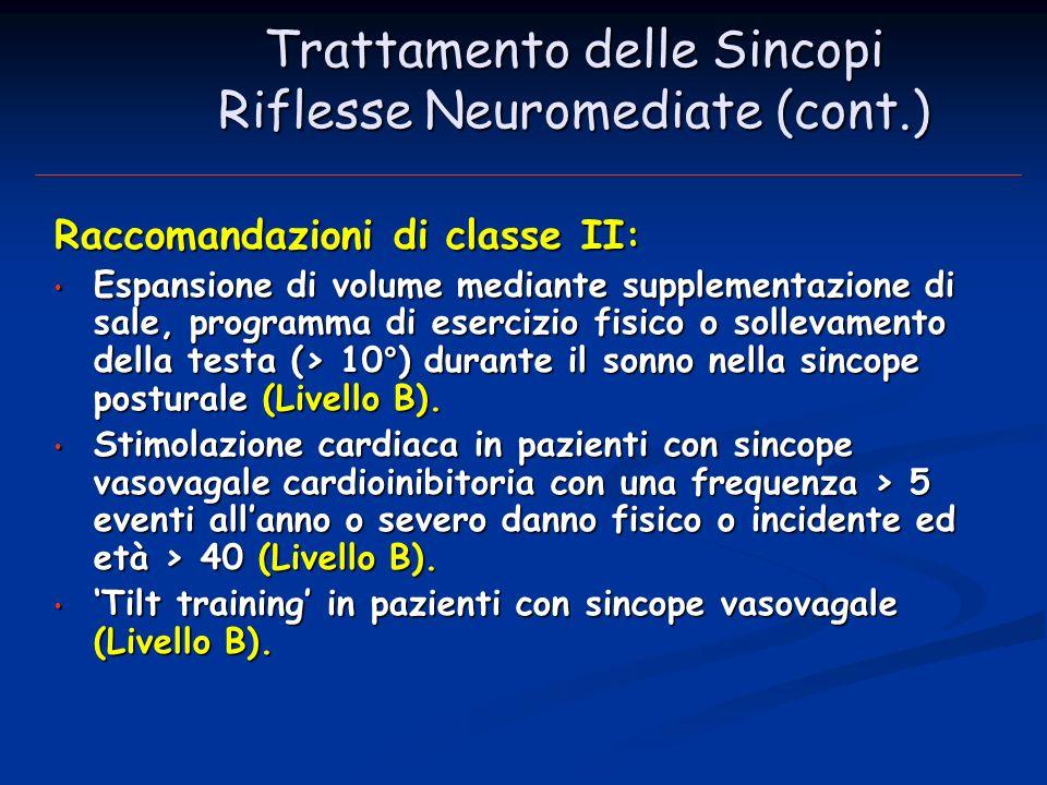 Trattamento delle Sincopi Riflesse Neuromediate (cont.) Raccomandazioni di classe II : Espansione di volume mediante supplementazione di sale, program