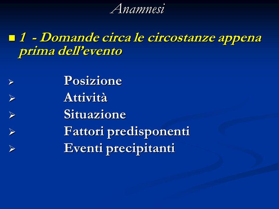 Anamnesi 1 - Domande circa le circostanze appena prima dellevento 1 - Domande circa le circostanze appena prima dellevento Posizione Posizione Attivit