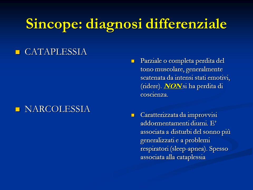 Sincope: diagnosi differenziale CATAPLESSIA CATAPLESSIA NARCOLESSIA NARCOLESSIA Parziale o completa perdita del tono muscolare, generalmente scatenata