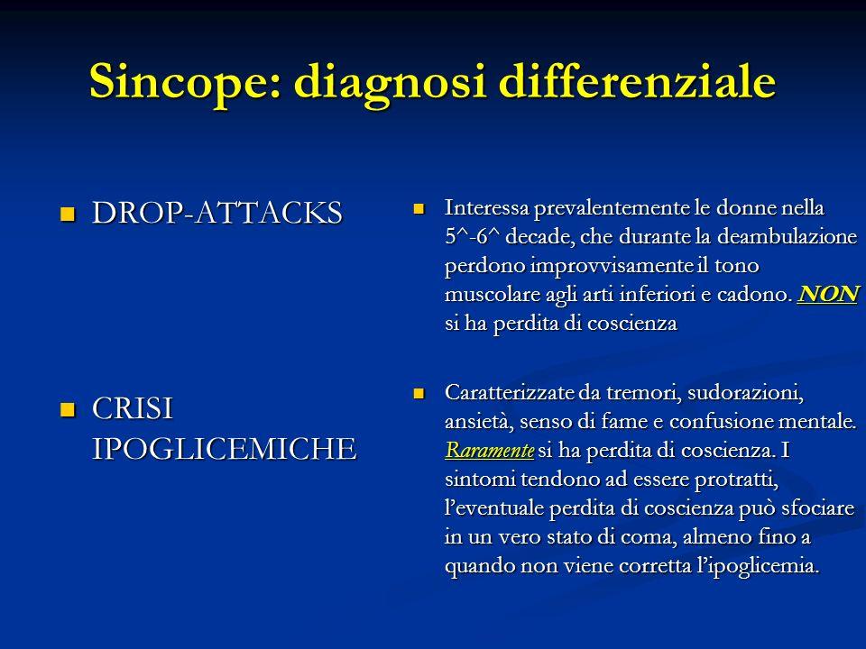 Sincope: diagnosi differenziale DROP-ATTACKS DROP-ATTACKS CRISI IPOGLICEMICHE CRISI IPOGLICEMICHE Interessa prevalentemente le donne nella 5^-6^ decad
