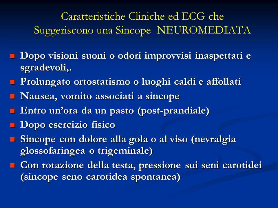 Caratteristiche Cliniche ed ECG che Suggeriscono una Sincope NEUROMEDIATA Dopo visioni suoni o odori improvvisi inaspettati e sgradevoli,. Dopo vision