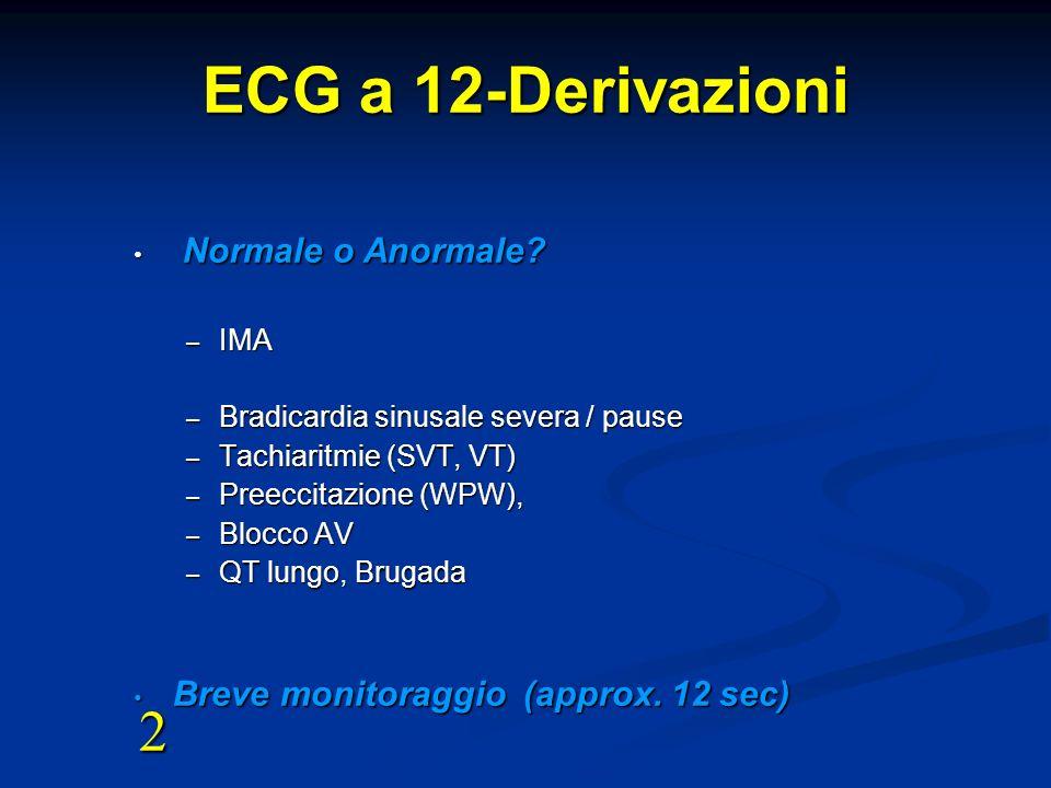 ECG a 12-Derivazioni Normale o Anormale? Normale o Anormale? – IMA – Bradicardia sinusale severa / pause – Tachiaritmie (SVT, VT) – Preeccitazione (WP