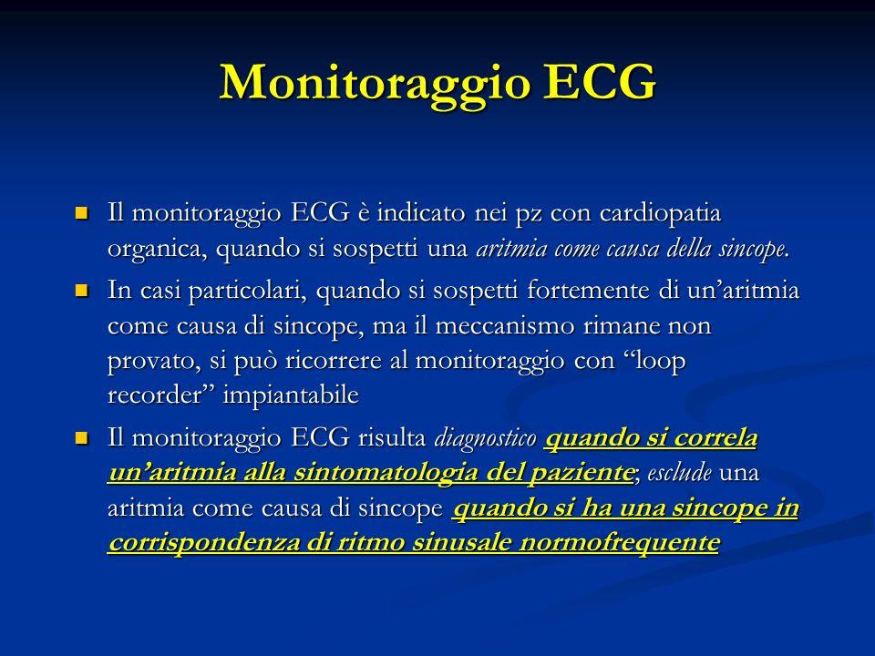 Monitoraggio ECG Il monitoraggio ECG è indicato nei pz con cardiopatia organica, quando si sospetti una aritmia come causa della sincope. Il monitorag