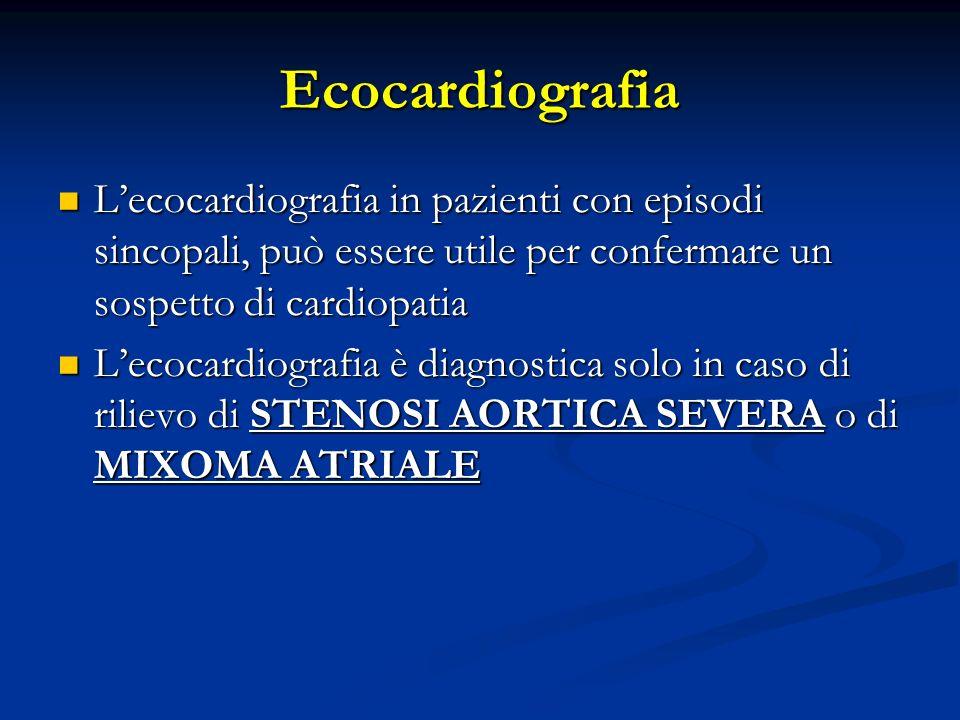 Ecocardiografia Lecocardiografia in pazienti con episodi sincopali, può essere utile per confermare un sospetto di cardiopatia Lecocardiografia in paz