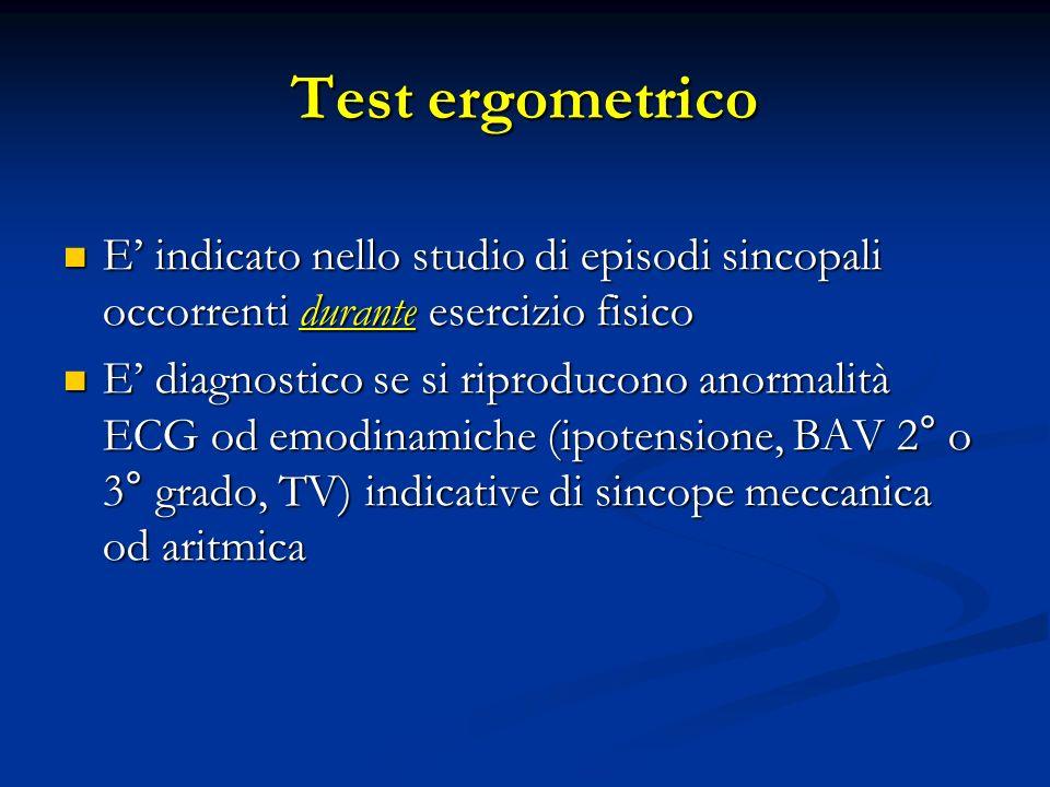 Test ergometrico E indicato nello studio di episodi sincopali occorrenti durante esercizio fisico E indicato nello studio di episodi sincopali occorre