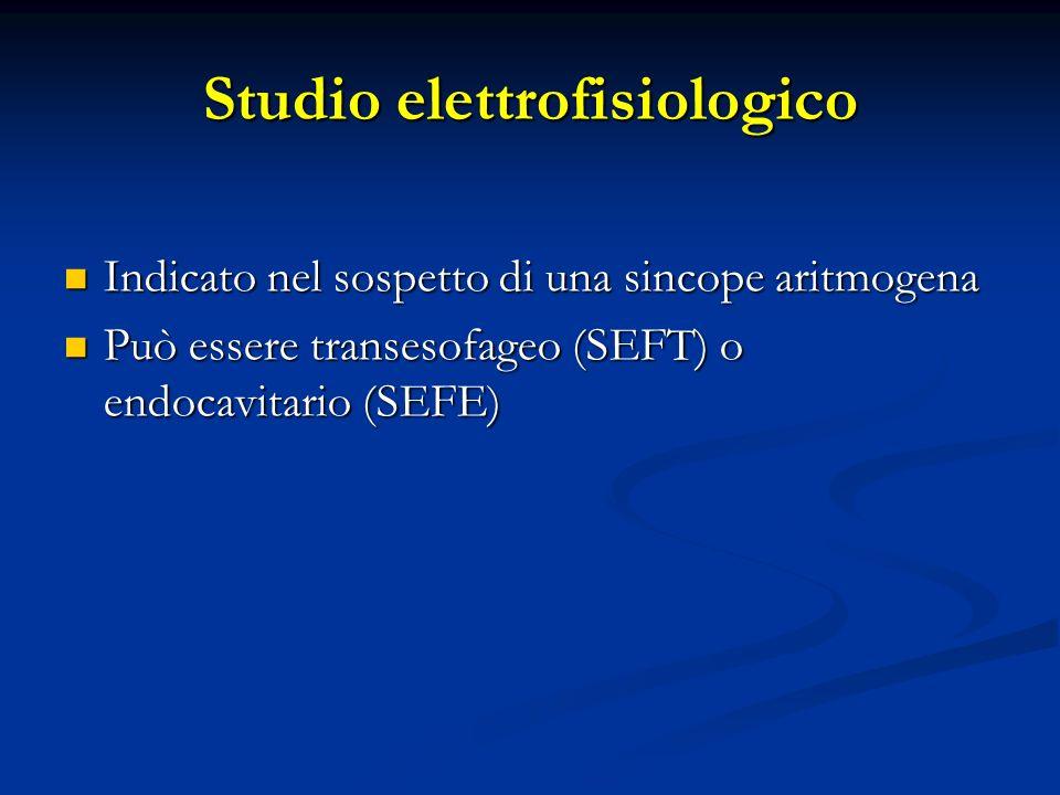 Studio elettrofisiologico Indicato nel sospetto di una sincope aritmogena Indicato nel sospetto di una sincope aritmogena Può essere transesofageo (SE