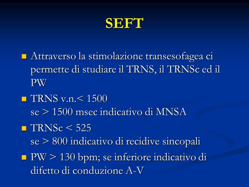 SEFT Attraverso la stimolazione transesofagea ci permette di studiare il TRNS, il TRNSc ed il PW Attraverso la stimolazione transesofagea ci permette