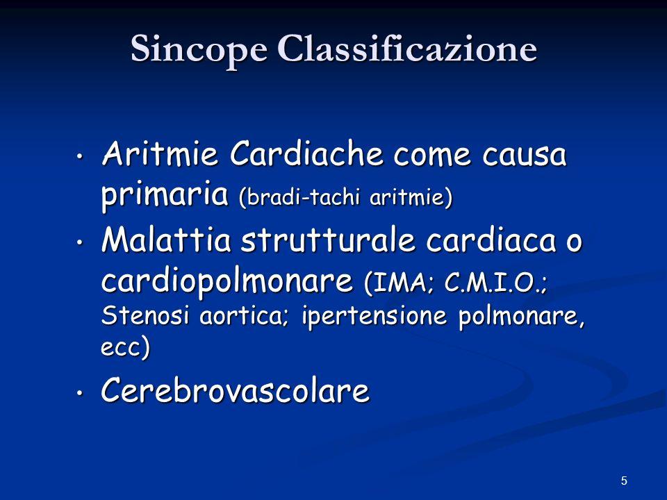 5 Sincope Classificazione Aritmie Cardiache come causa primaria (bradi-tachi aritmie) Aritmie Cardiache come causa primaria (bradi-tachi aritmie) Mala