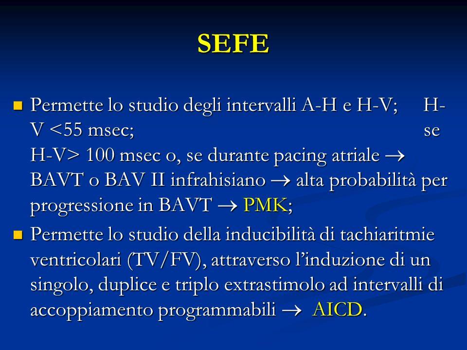 SEFE Permette lo studio degli intervalli A-H e H-V; H- V 100 msec o, se durante pacing atriale BAVT o BAV II infrahisiano alta probabilità per progres