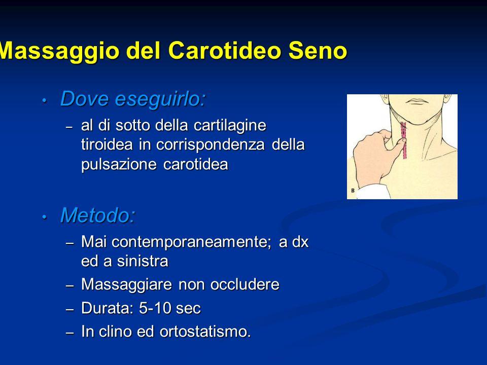 Massaggio del Carotideo Seno Dove eseguirlo: Dove eseguirlo: – al di sotto della cartilagine tiroidea in corrispondenza della pulsazione carotidea Met