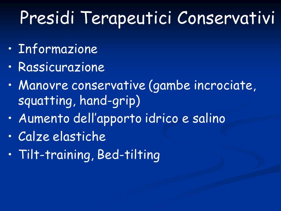 Presidi Terapeutici Conservativi Informazione Rassicurazione Manovre conservative (gambe incrociate, squatting, hand-grip) Aumento dellapporto idrico