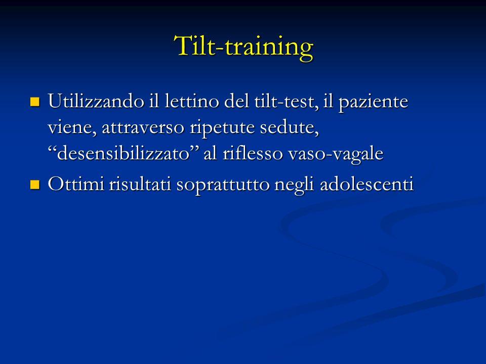 Tilt-training Utilizzando il lettino del tilt-test, il paziente viene, attraverso ripetute sedute, desensibilizzato al riflesso vaso-vagale Utilizzand