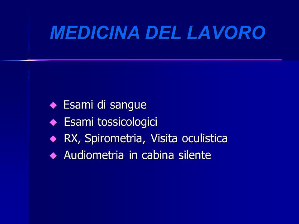 MEDICINA DEL LAVORO Esami di sangue Esami di sangue u Esami tossicologici u RX, Spirometria, Visita oculistica u Audiometria in cabina silente
