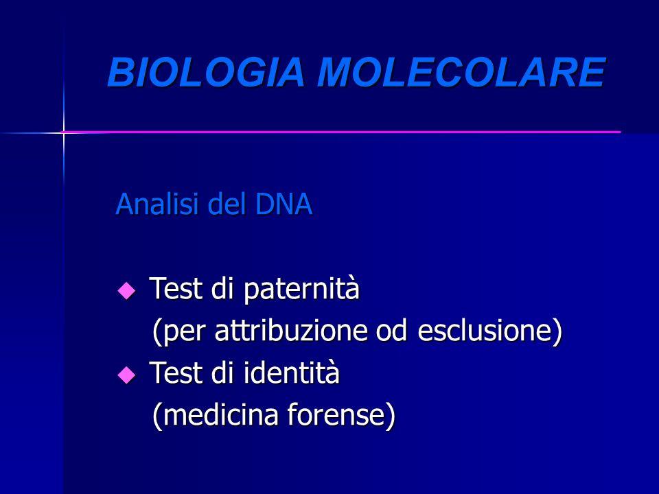 BIOLOGIA MOLECOLARE BIOLOGIA MOLECOLARE Analisi del DNA u Test di paternità (per attribuzione od esclusione) (per attribuzione od esclusione) u Test d