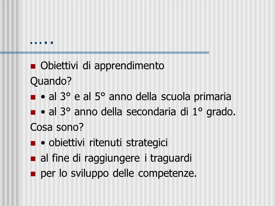 Traguardi e obiettivi Traguardi per lo sviluppo della/e competenza/e Quando? Al termine della scuola dellinfanzia (competenza) primaria (competenze) s