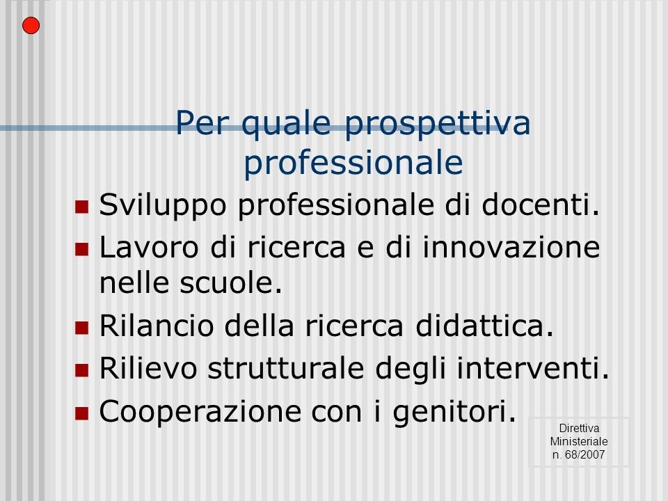 Per quale prospettiva professionale Sviluppo professionale di docenti.