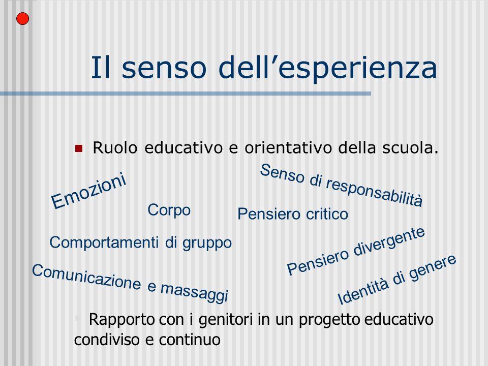 Il senso dellesperienza Ruolo educativo e orientativo della scuola.