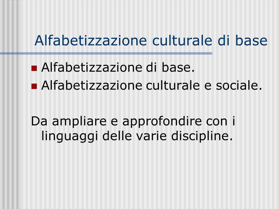 Alfabetizzazione culturale di base Alfabetizzazione di base.