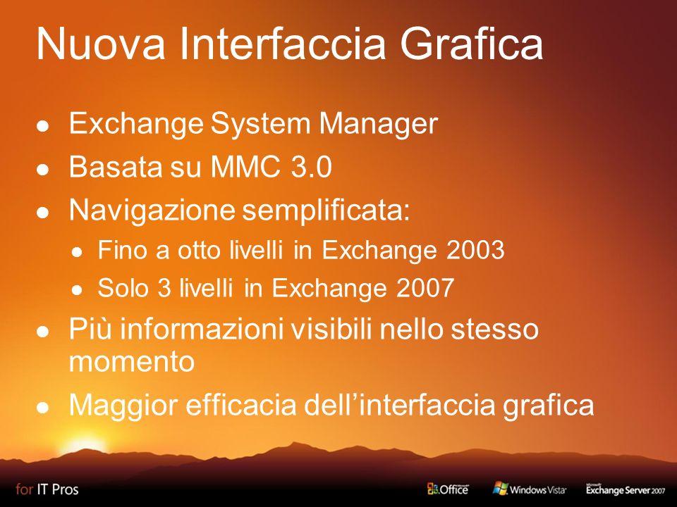 Nuova Interfaccia Grafica Exchange System Manager Basata su MMC 3.0 Navigazione semplificata: Fino a otto livelli in Exchange 2003 Solo 3 livelli in Exchange 2007 Più informazioni visibili nello stesso momento Maggior efficacia dellinterfaccia grafica