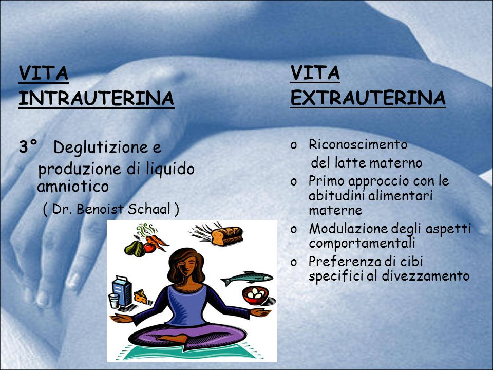 VITA INTRAUTERINA 3° Deglutizione e produzione di liquido amniotico ( Dr. Benoist Schaal ) VITA EXTRAUTERINA oRiconoscimento del latte materno oPrimo
