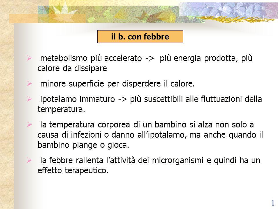 1 metabolismo più accelerato -> più energia prodotta, più calore da dissipare minore superficie per disperdere il calore. ipotalamo immaturo -> più su