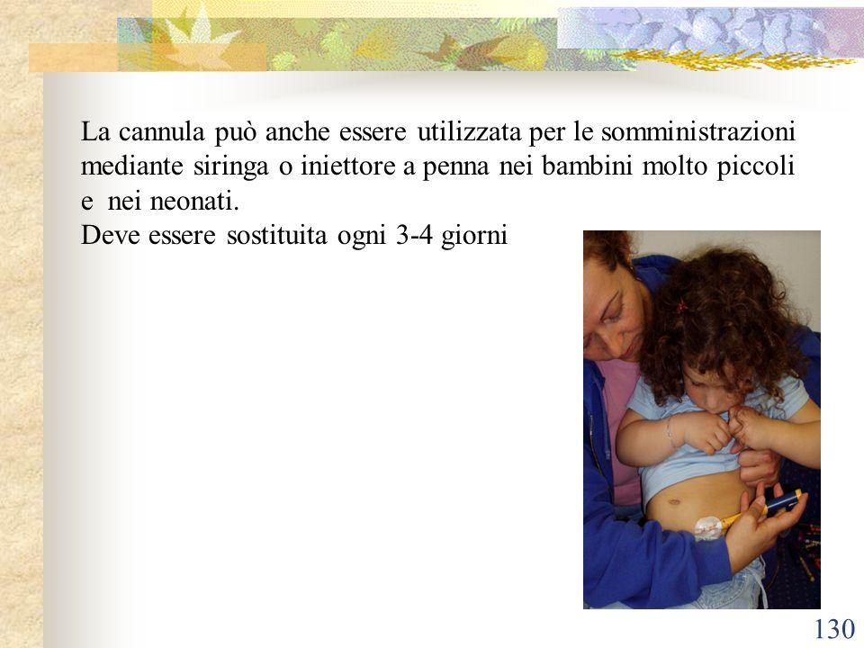 130 La cannula può anche essere utilizzata per le somministrazioni mediante siringa o iniettore a penna nei bambini molto piccoli e nei neonati. Deve