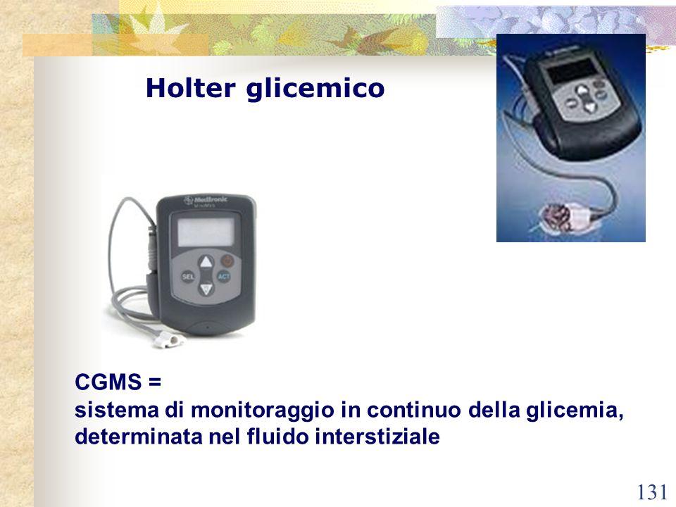 131 Holter glicemico CGMS = sistema di monitoraggio in continuo della glicemia, determinata nel fluido interstiziale
