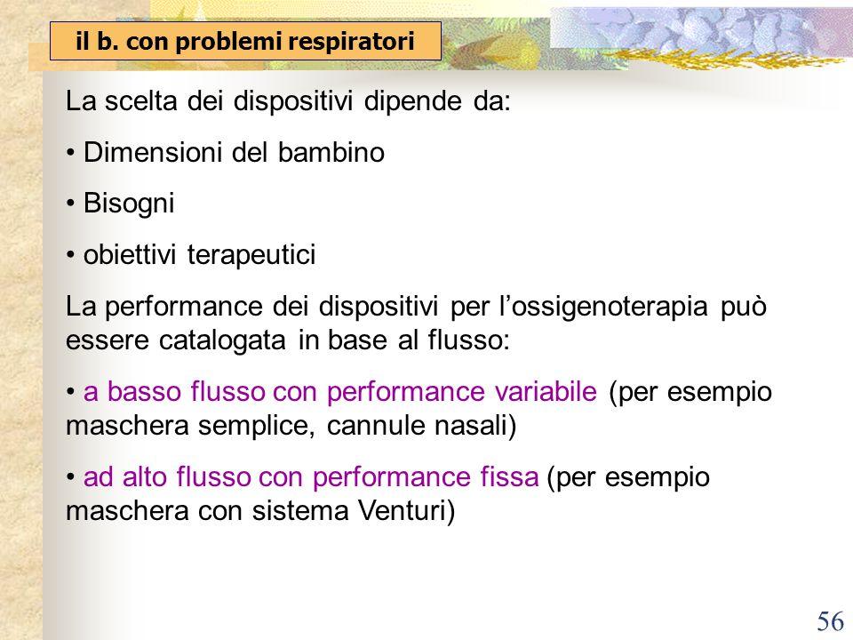 56 il b. con problemi respiratori La scelta dei dispositivi dipende da: Dimensioni del bambino Bisogni obiettivi terapeutici La performance dei dispos