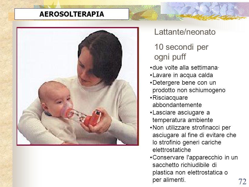 72 AEROSOLTERAPIA Lattante/neonato 10 secondi per ogni puff due volte alla settimana· Lavare in acqua calda Detergere bene con un prodotto non schiumo