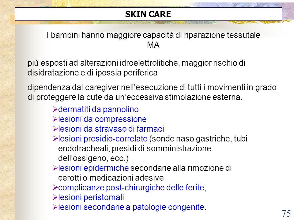 75 I bambini hanno maggiore capacità di riparazione tessutale MA SKIN CARE dermatiti da pannolino lesioni da compressione lesioni da stravaso di farma