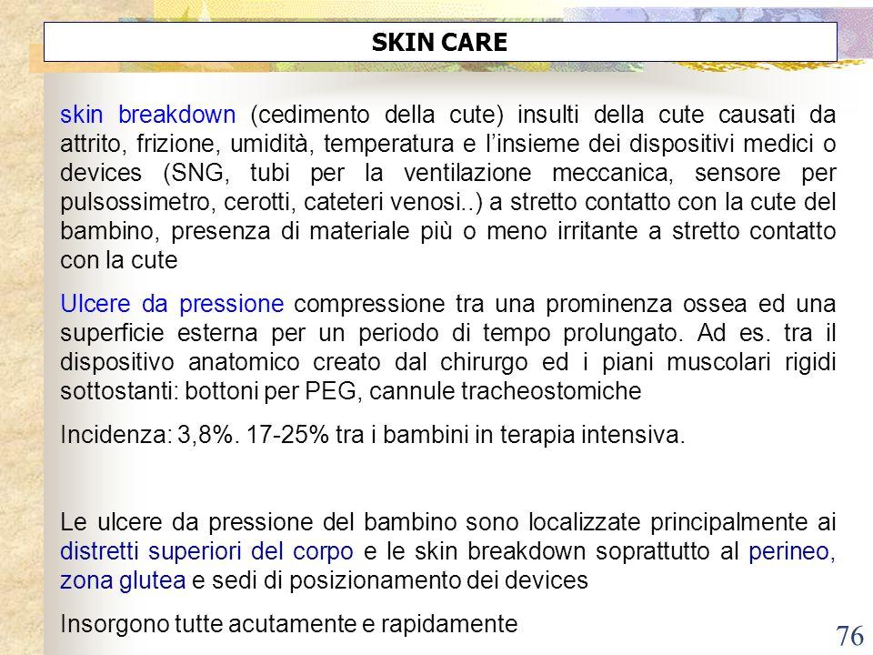 76 SKIN CARE skin breakdown (cedimento della cute) insulti della cute causati da attrito, frizione, umidità, temperatura e linsieme dei dispositivi me