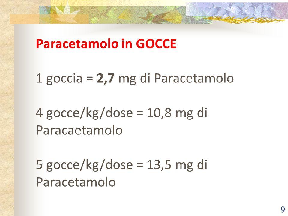 9 Paracetamolo in GOCCE 1 goccia = 2,7 mg di Paracetamolo 4 gocce/kg/dose = 10,8 mg di Paracaetamolo 5 gocce/kg/dose = 13,5 mg di Paracetamolo