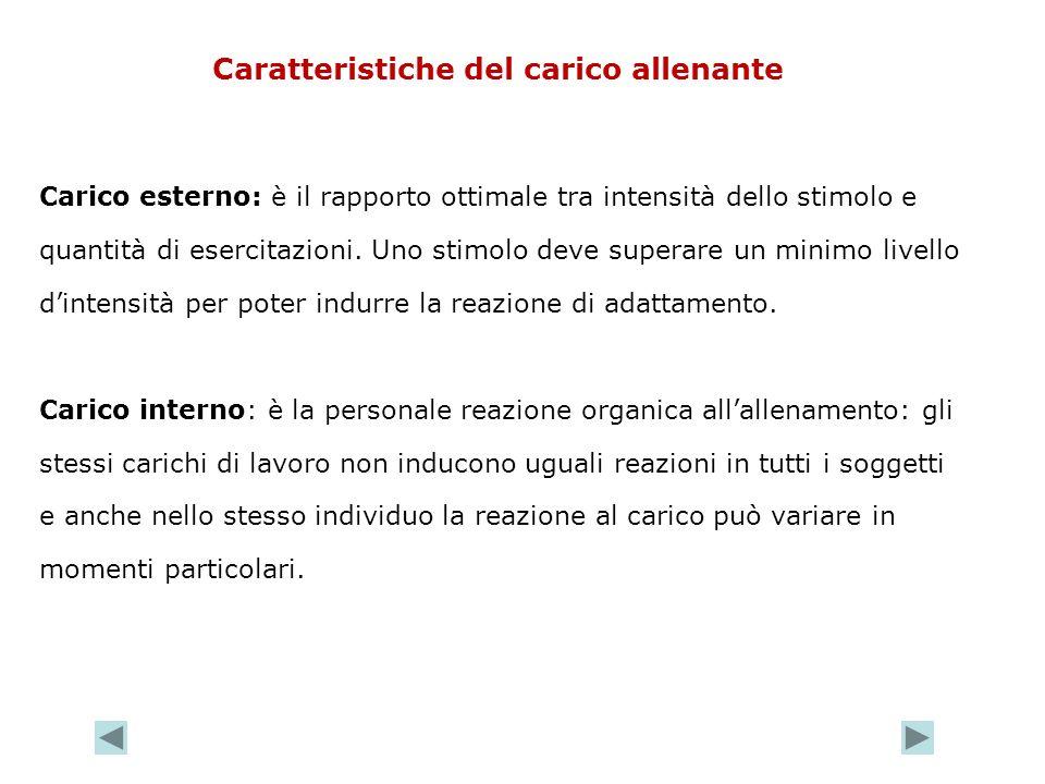 Caratteristiche del carico allenante Carico esterno: è il rapporto ottimale tra intensità dello stimolo e quantità di esercitazioni. Uno stimolo deve