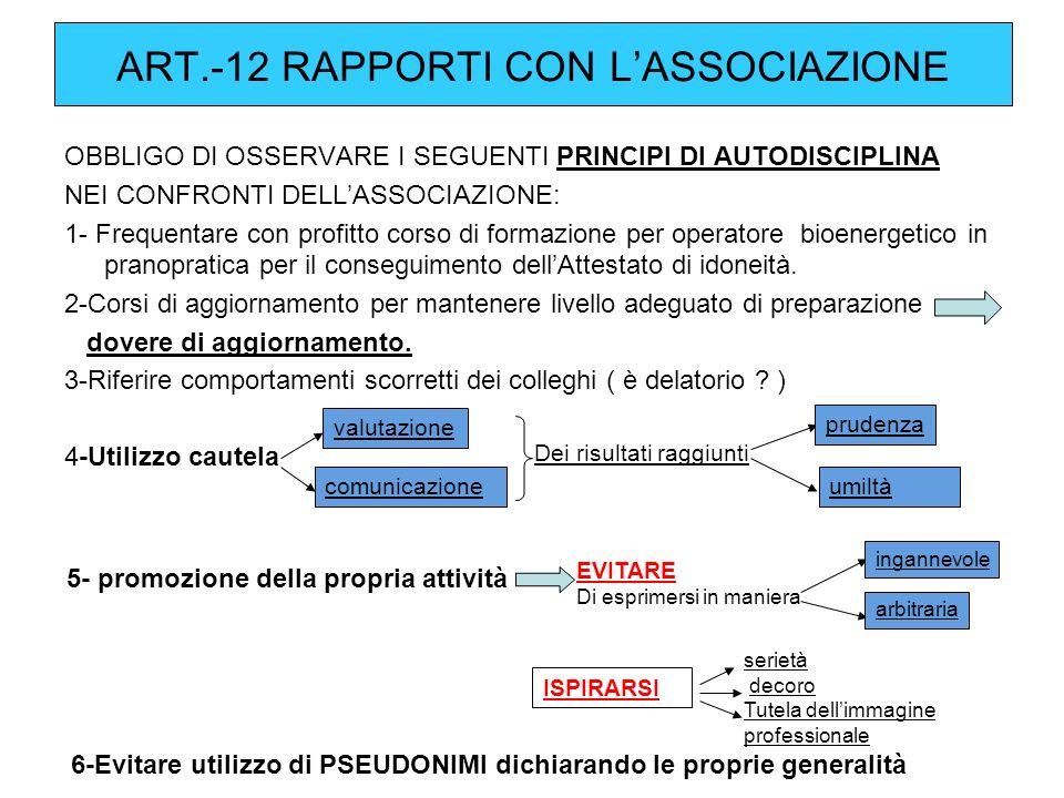 ART.-12 RAPPORTI CON L ASSOCIAZIONE OBBLIGO DI OSSERVARE I SEGUENTI PRINCIPI DI AUTODISCIPLINA NEI CONFRONTI DELLASSOCIAZIONE: 1- Frequentare con prof