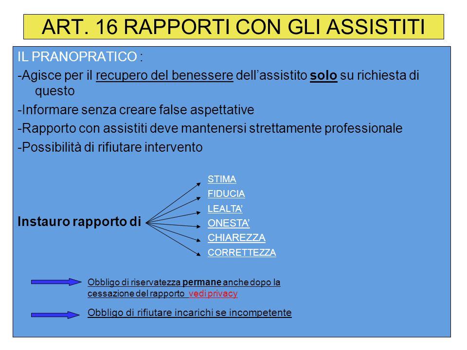 ART. 16 RAPPORTI CON GLI ASSISTITI IL PRANOPRATICO : -Agisce per il recupero del benessere dellassistito solo su richiesta di questo -Informare senza