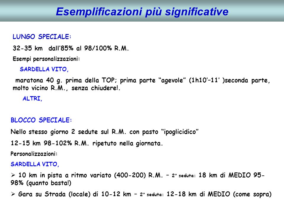 Esemplificazioni più significative RITMO GARA: Gara di ½ Maratona a R.M.